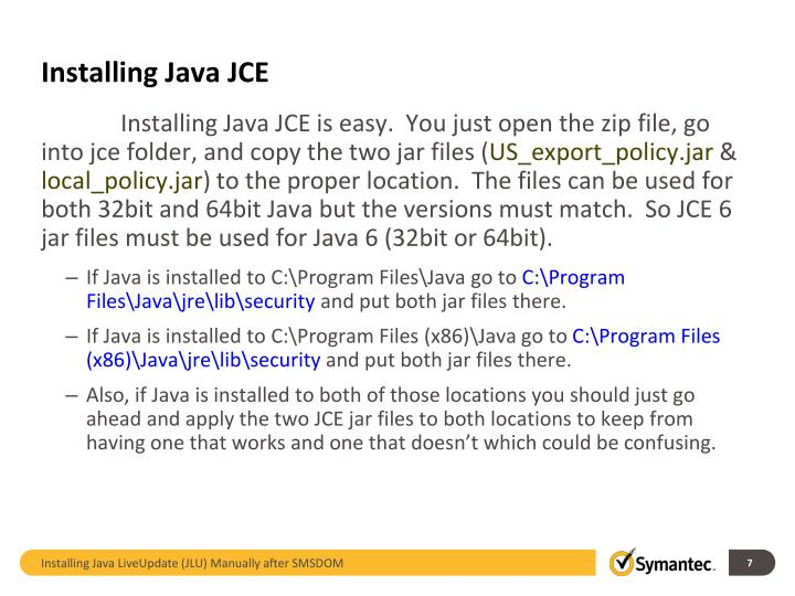 Installing Java JCE
