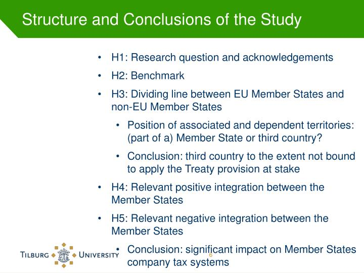 Structure and Conclusions of the Study