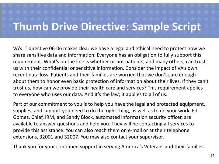Thumb Drive Directive: Sample Script