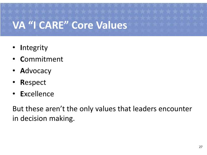 "VA ""I CARE"" Core Values"