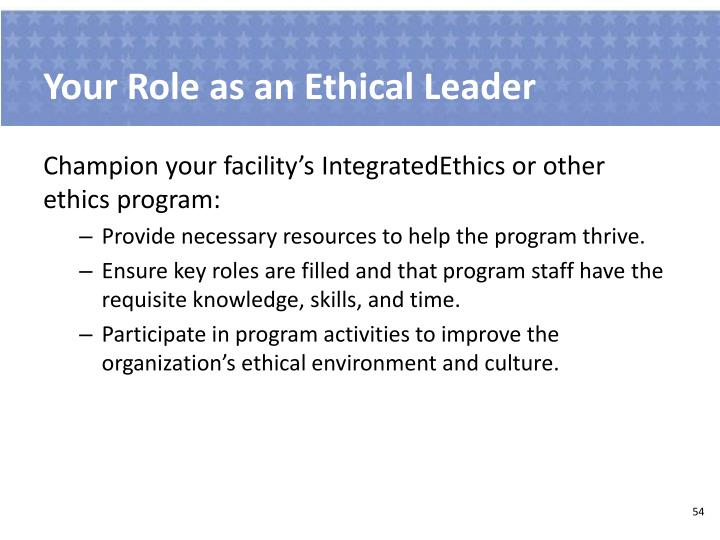 Your Role as an Ethical Leader