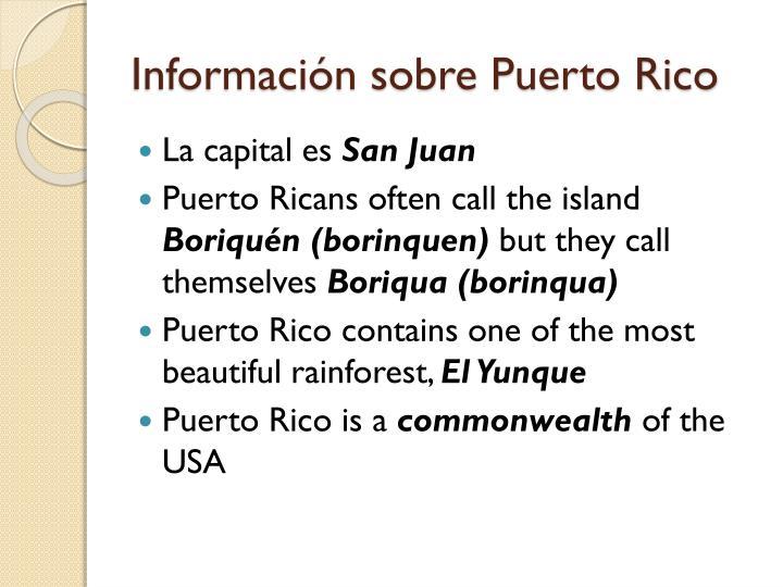 Información sobre Puerto Rico