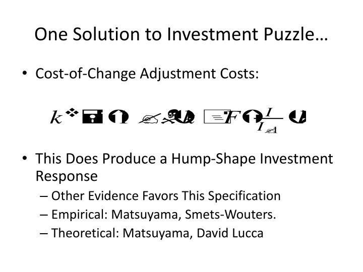 One Solution to Investment Puzzle…