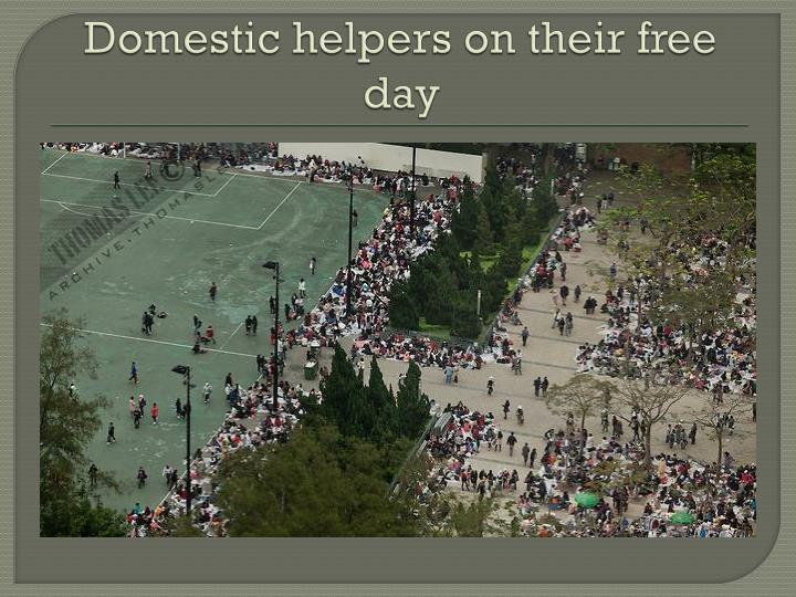 Domestic helpers on their free day