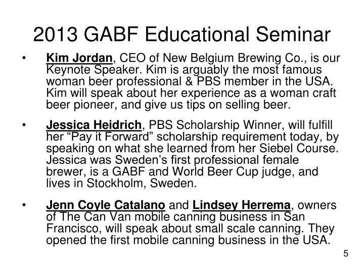 2013 GABF Educational Seminar