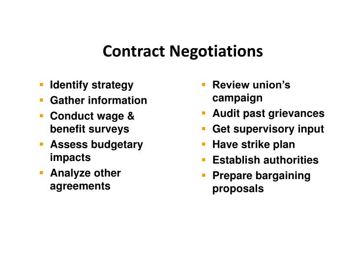 how to prepare for union contract negotiations At stake is whether unions can compel nonmembers to pay dues for representing them in contract negotiations to prepare for collective negotiations with a union.