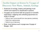 another impact on science by voyages of discovery new plants animals geology