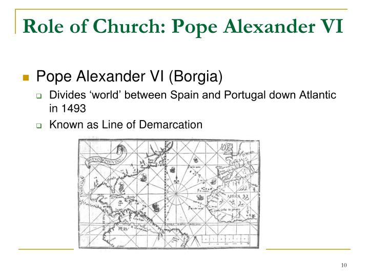 Role of Church: Pope Alexander VI