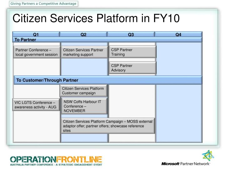Citizen Services Platform in FY10