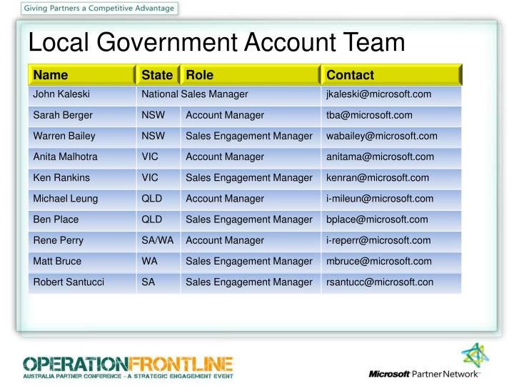 Local Government Account Team