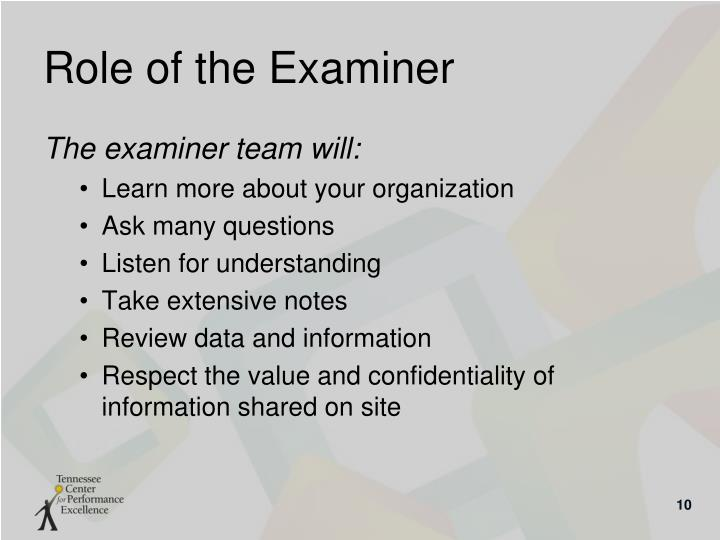 Role of the Examiner