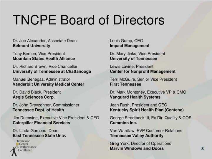 TNCPE Board of Directors