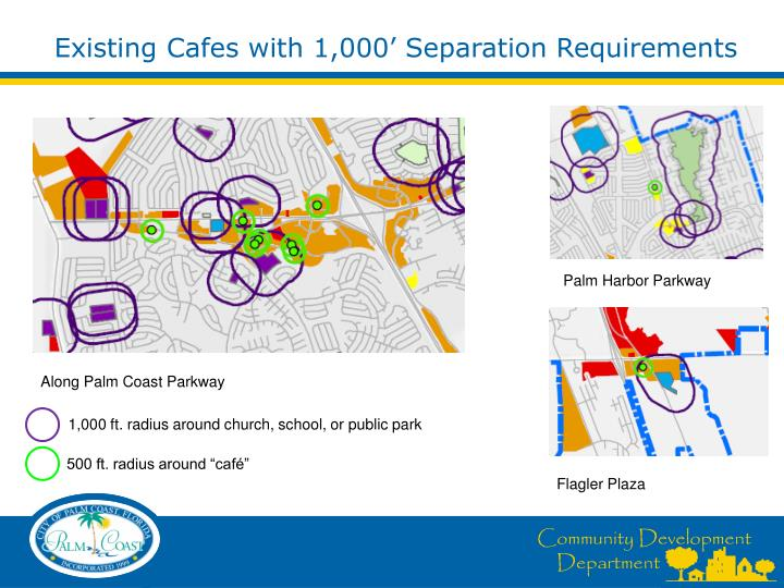Existing Cafes with 1,000' Separation Requirements