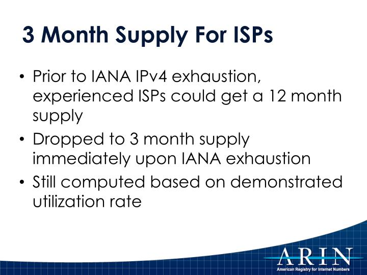 3 Month Supply For ISPs