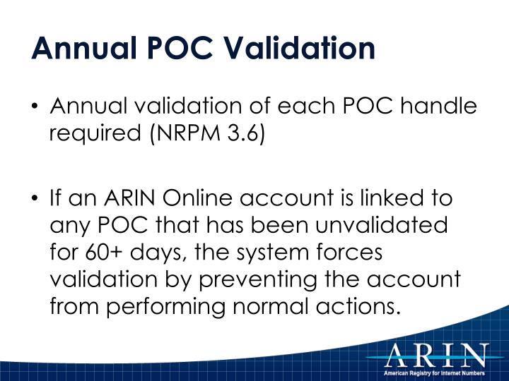 Annual POC Validation