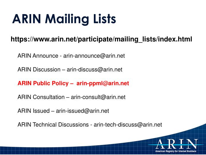 ARIN Mailing Lists
