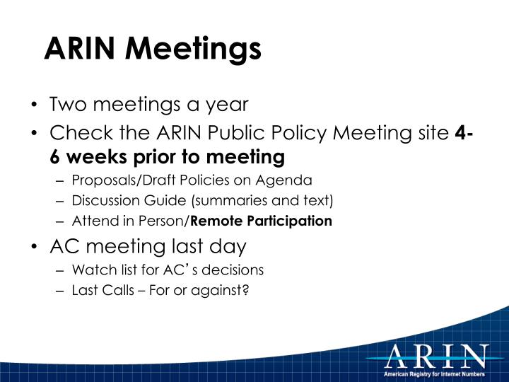 ARIN Meetings