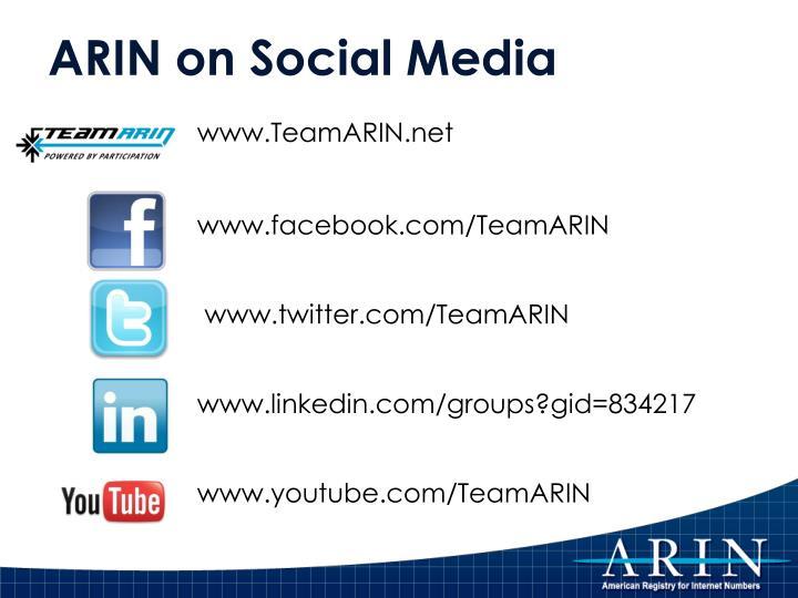 ARIN on Social Media