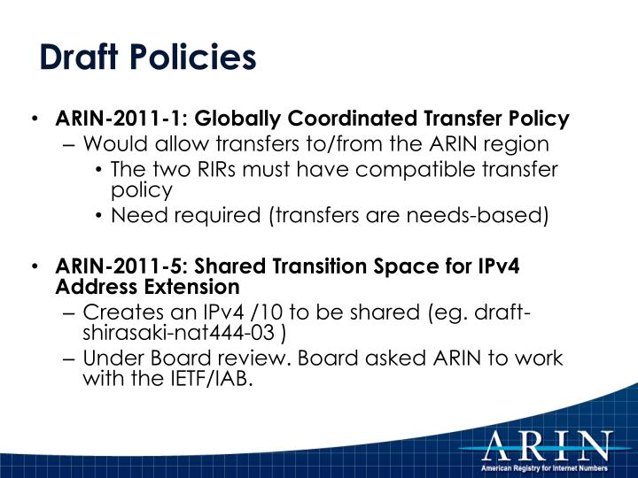 Draft Policies