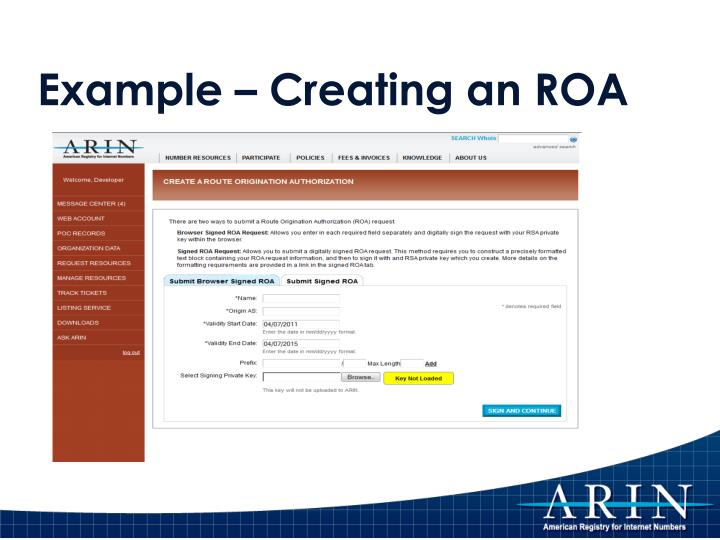 Example – Creating an ROA