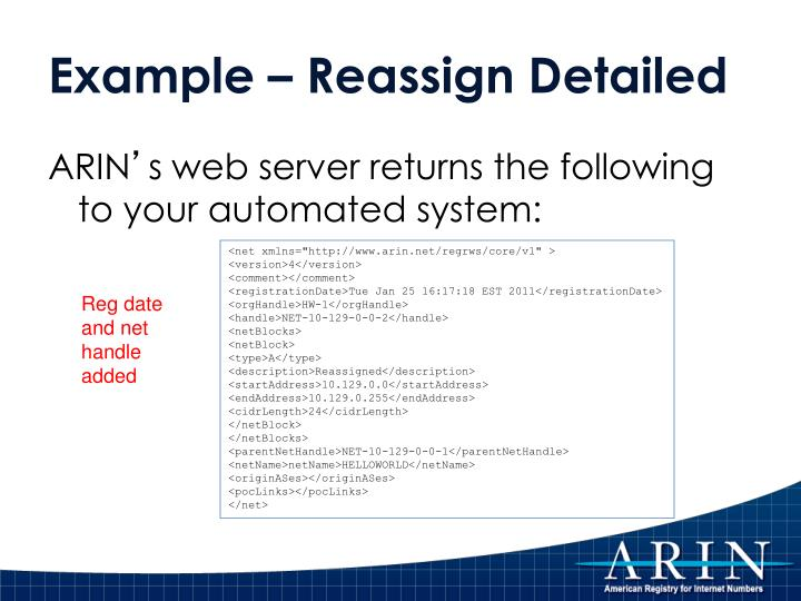 Example – Reassign Detailed