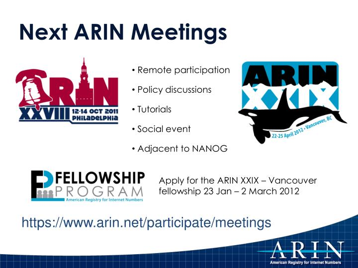 Next ARIN Meetings