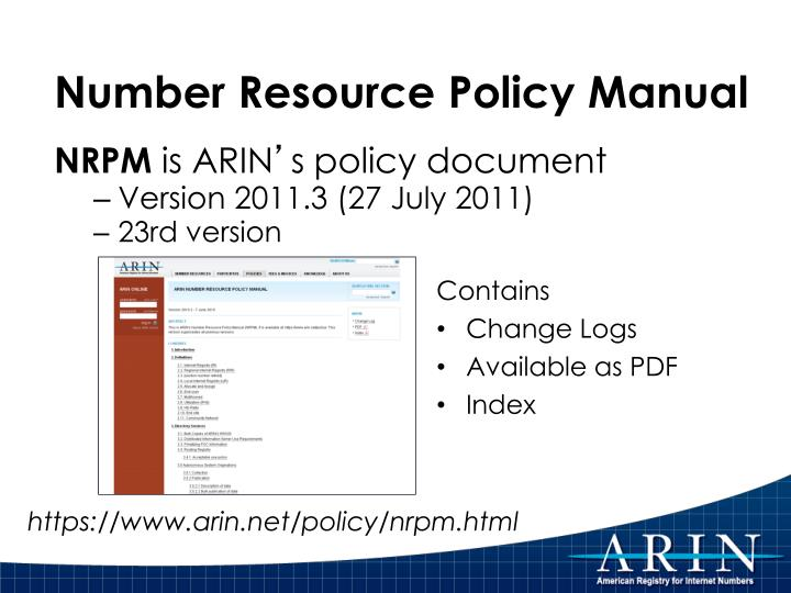 Number Resource Policy Manual