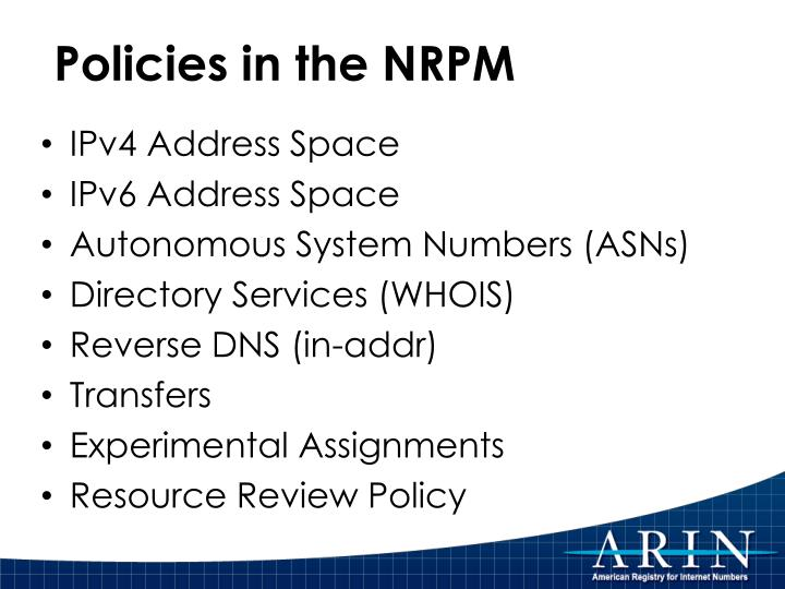 Policies in the NRPM