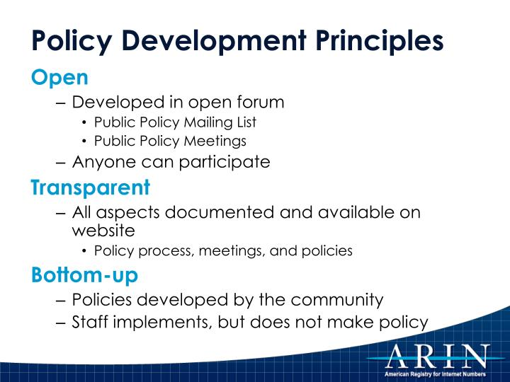 Policy Development Principles