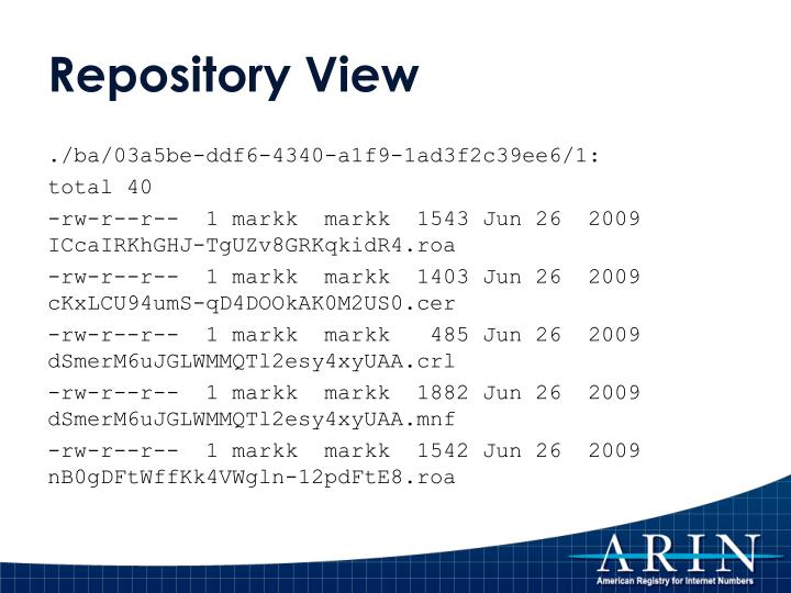 Repository View
