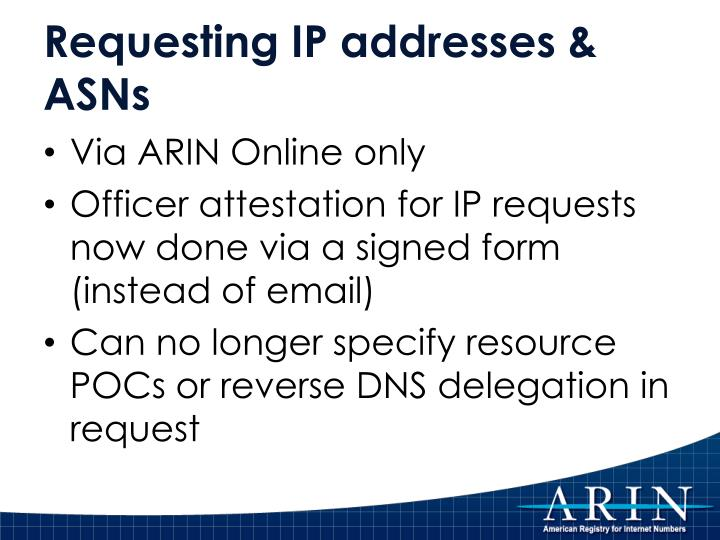 Requesting IP addresses & ASNs