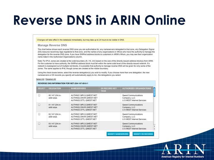 Reverse DNS in ARIN Online