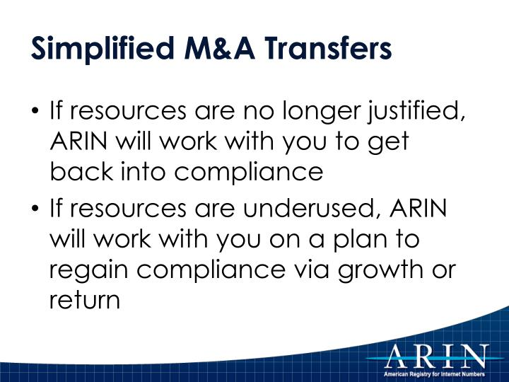 Simplified M&A Transfers