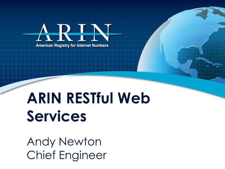 ARIN RESTful Web Services