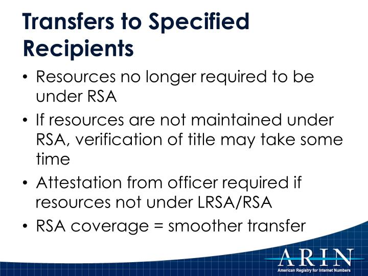 Transfers to Specified Recipients