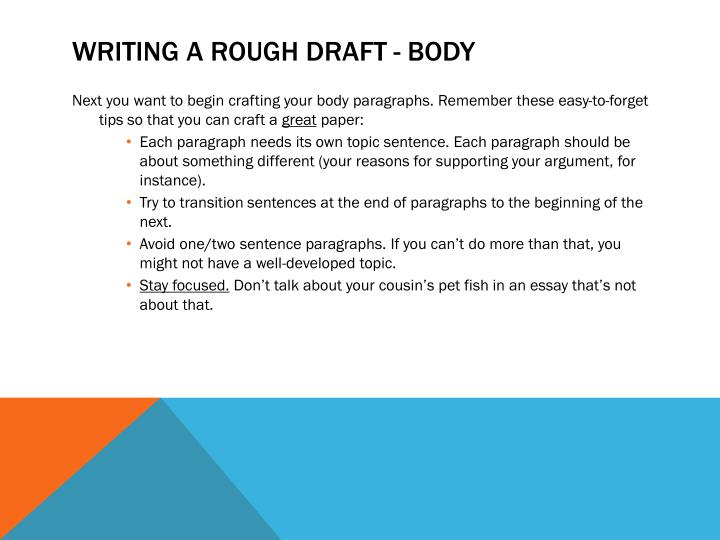 Writing a rough draft - body