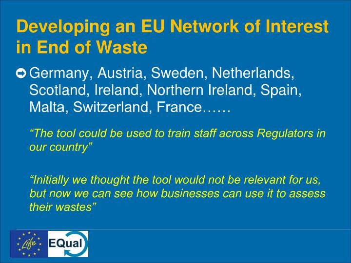 Developing an EU Network of Interest in End of Waste
