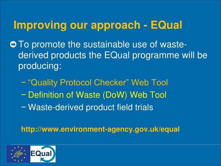 Improving our approach - EQual
