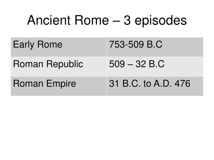 Ancient Rome – 3 episodes