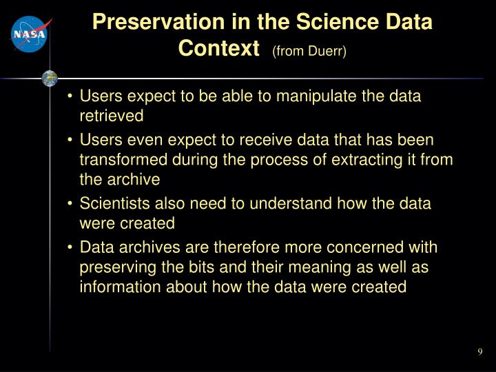 Preservation in the Science Data Context