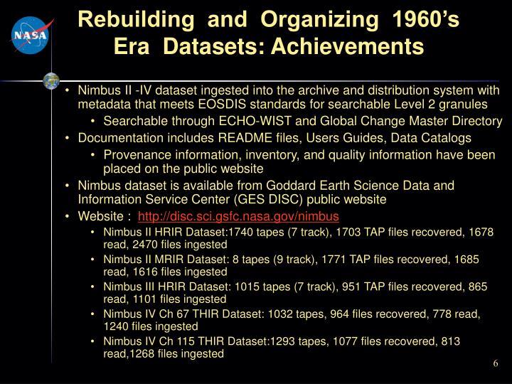 Rebuilding  and  Organizing  1960's  Era