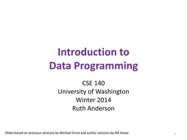 Introduction to data programming
