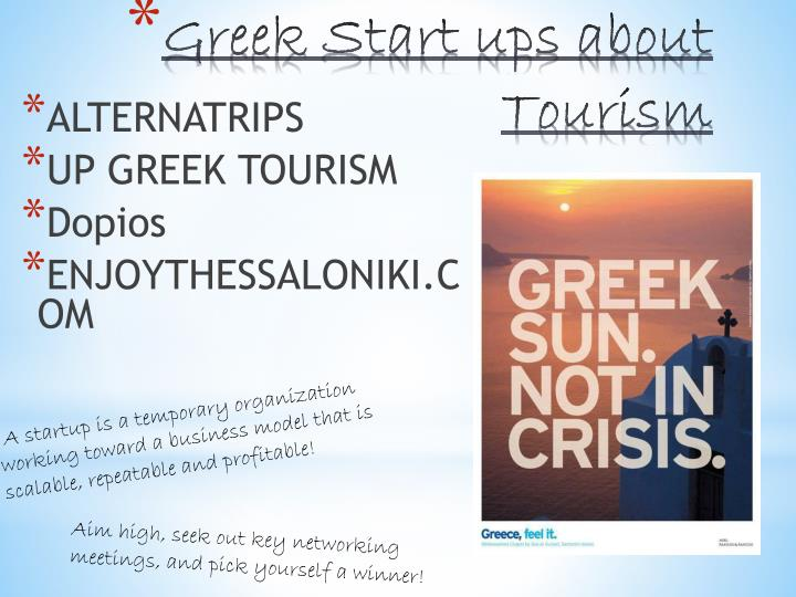 Greek start ups about tourism