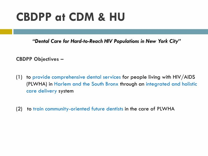 CBDPP at CDM & HU