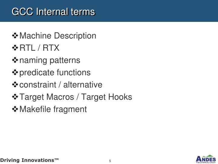 GCC Internal terms