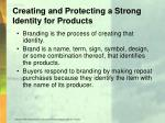 creating and protecting a strong identity for products