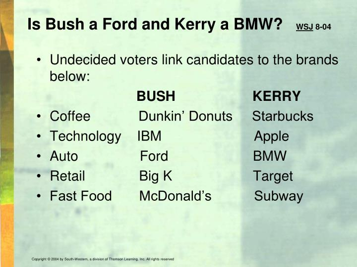 Is Bush a Ford and Kerry a BMW?