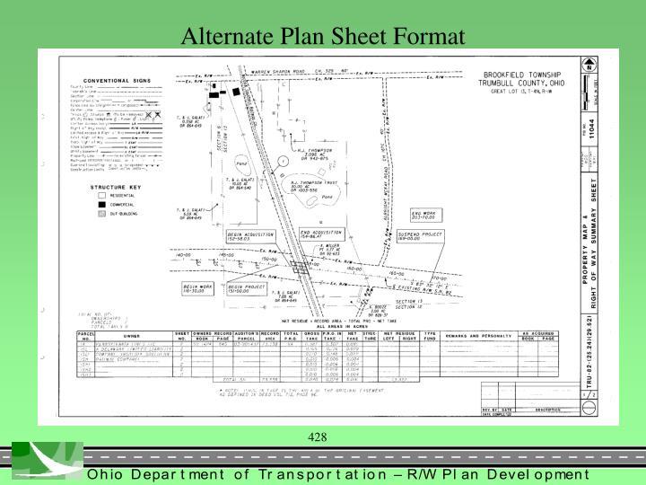 Alternate Plan Sheet Format