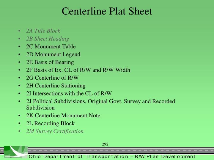 Centerline Plat Sheet