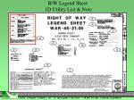 r w legend sheet 1d utility list note